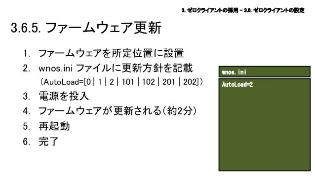 3. ゼロクライアントの採用 – 3.6. ゼロクライアントの設定  3.6.5. ファームウェア更新 1. ファームウェアを所定位置に設置 2. wnos.ini ファイルに更新方針を記載 (AutoLoad=[0   1   2   101...