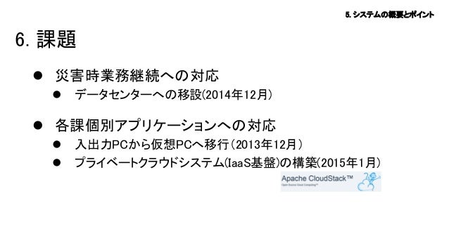 5. システムの概要とポイント  6. 課題  災害時業務継続への対応   データセンターへの移設(2014年12月)   各課個別アプリケーションへの対応    入出力PCから仮想PCへ移行(2013年12月) プライベートクラウド...