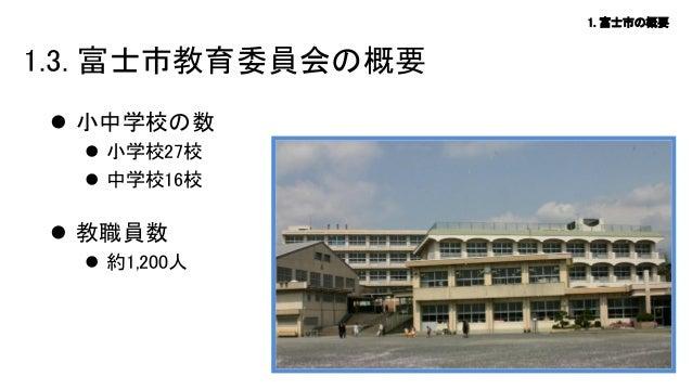 1. 富士市の概要  1.3. 富士市教育委員会の概要  小中学校の数  小学校27校  中学校16校   教職員数  約1,200人