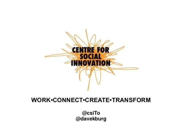 WORK•CONNECT•CREATE•TRANSFORM @csiTo @davekburg