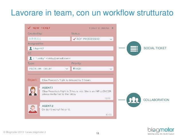 Lavorare in team, con un workflow strutturato  SOCIAL TICKET  COLLABORATION  © Blogmeter 2013 I www.blogmeter.it  18