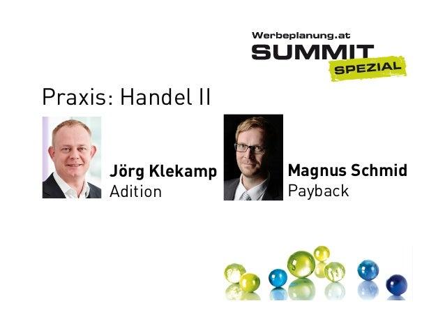 Praxis: Handel II Jörg Klekamp Adition  Magnus Schmid Payback