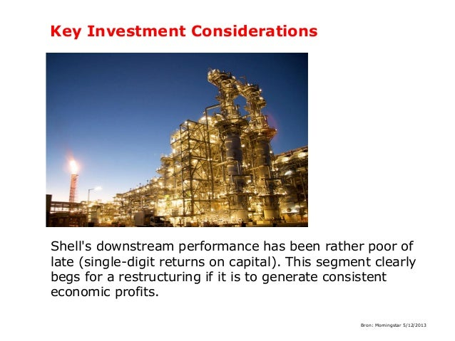 Key Investment Considerations  Shell's downstream performance has been rather poor of late (single-digit returns on capita...
