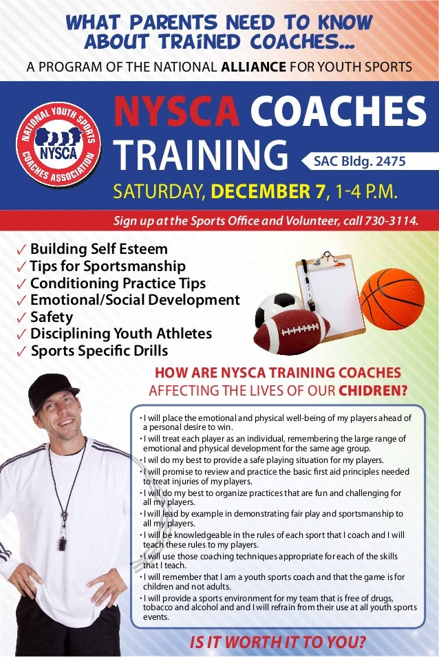 What parents need to know about trained coaches... A program of the national alliance for Youth Sports  NYSCA Coaches Trai...