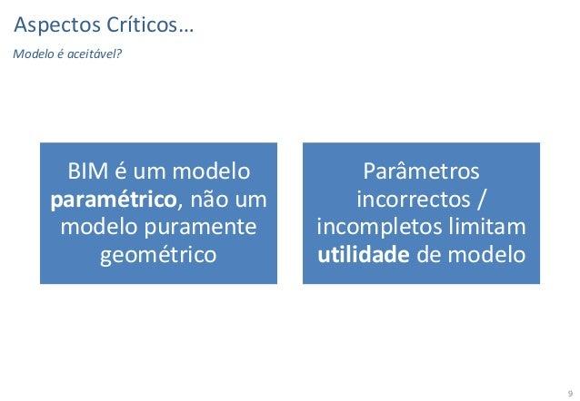Aspectos Críticos… Modelo é aceitável?  BIM é um modelo paramétrico, não um modelo puramente geométrico  Parâmetros incorr...
