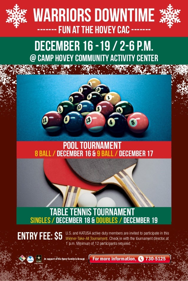 Warriors Downtime ------- Fun at the Hovey CAC -------  DECember 16 -19 / 2-6 p.m.  @ Camp Hovey COMMUNITY ACTIVITY Center...