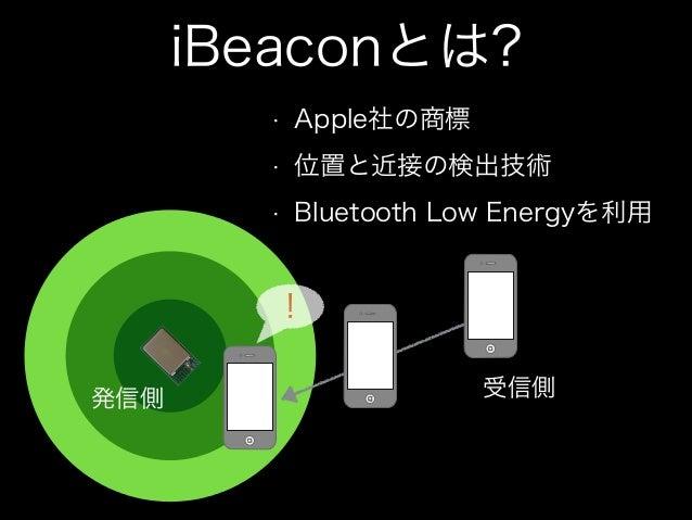 iBeaconで、できること •  領域監視 •  •  レンジング •  •  領域に入った、出たの検出  ビーコンとの、おおよその距離  ビーコンが、送信している情報 • •  •  Near Far  major番号 (0 65536) ...