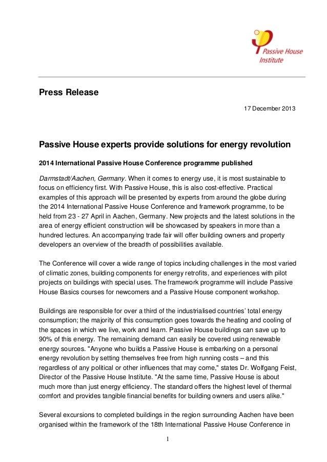 Press Release 17 December 2013  Passive House experts provide solutions for energy revolution 2014 International Passive H...