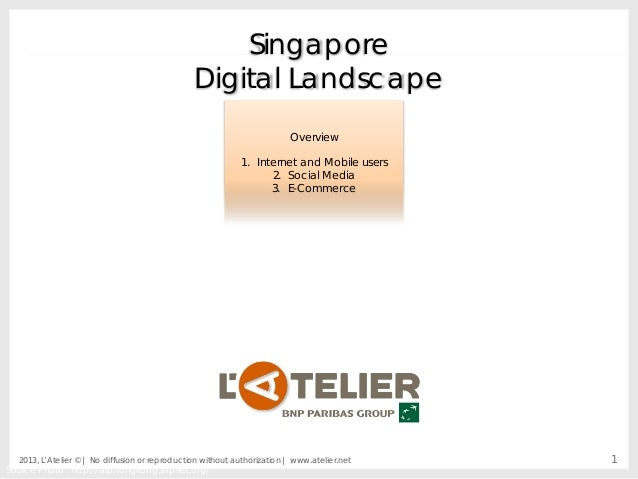 Singapore Digital Landscape Overview 1. Internet and Mobile users 2. Social Media 3. E-Commerce  2013, L'Atelier © | No di...