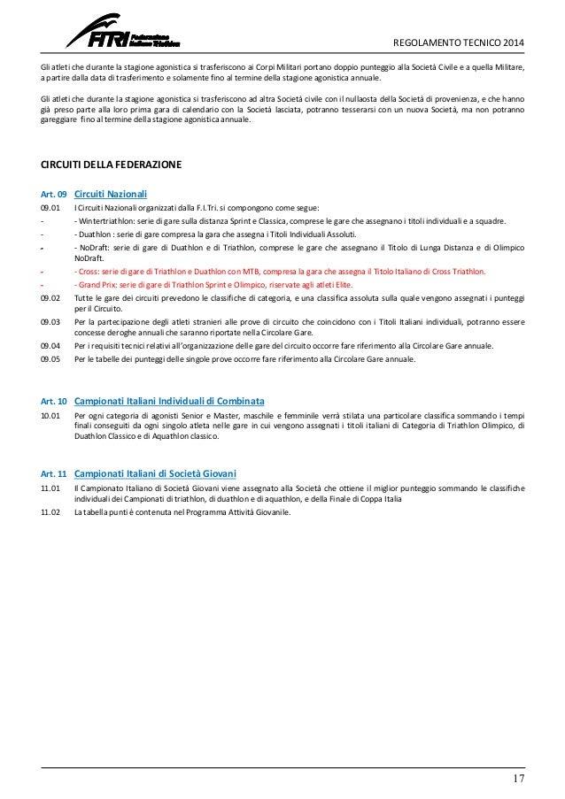 Fitri Calendario Gare.Regolamento Tecnico Fitri 2014