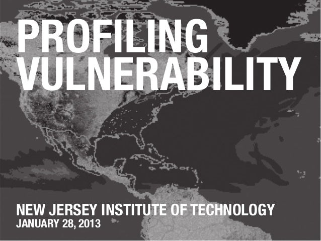 PROFILINGVULNERABILITYNEW JERSEY INSTITUTE OF TECHNOLOGYJANUARY 28, 2013