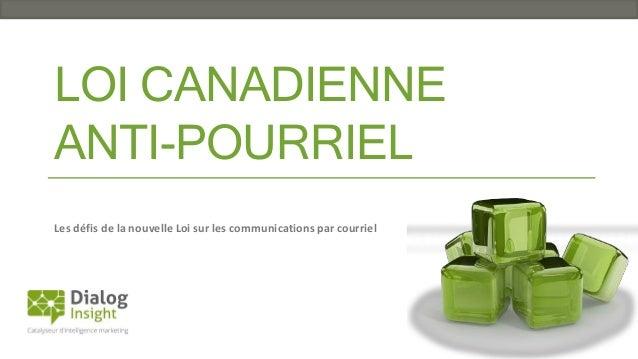 LOI CANADIENNE ANTI-POURRIEL Les défis de la nouvelle Loi sur les communications par courriel