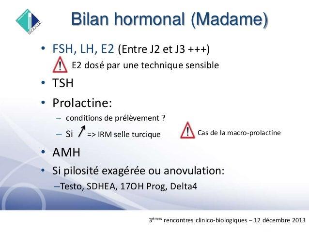 bilan hormonal femme