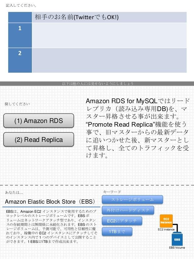 記入してください。  相手のお名前(TwitterでもOK!) 1  2  以下は他の人には見せないようにしましょう  探してください  (1) Amazon RDS (2) Read Replica  Amazon RDS for MySQL...