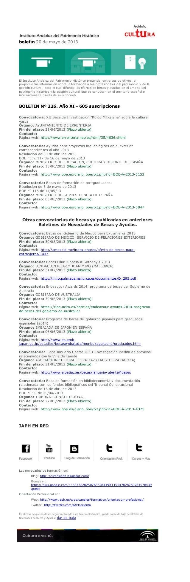 boletín 20 de mayo de 2013El Instituto Andaluz del Patrimonio Histórico pretende, entre sus objetivos, elproporcionar info...