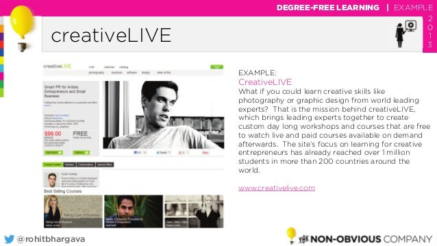 @rohitbhargava creativeLIVE DEGREE-FREE LEARNING | EXAMPLE 2 0 1 3 EXAMPLE: CreativeLIVE What if you could learn creative ...