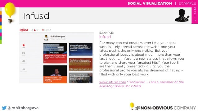 @rohitbhargava Infusd SOCIAL VISUALIZATION | EXAMPLE 2 0 1 3 EXAMPLE: Infusd For many content creators, over time your bes...