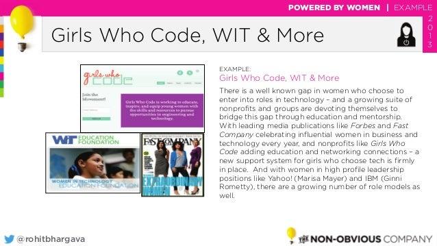 @rohitbhargava Girls Who Code, WIT & More POWERED BY WOMEN | EXAMPLE 2 0 1 3 EXAMPLE: Girls Who Code, WIT & More There is ...