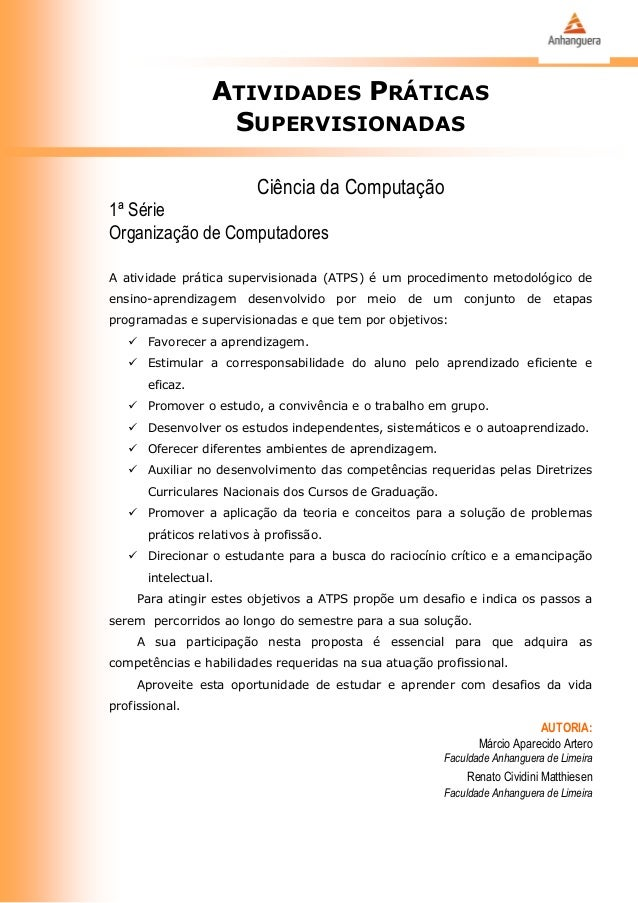 ATIVIDADES PRÁTICAS                   SUPERVISIONADAS                          Ciência da Computação1ª SérieOrganização de...