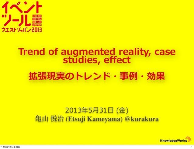 2013年年5⽉月31⽇日 (⾦金金)亀山 悦治 (Etsuji Kameyama) @kurakuraTrend of augmented reality, case studies, effect拡張現実のトレンド・事例例・効果...