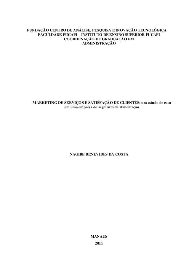 FUNDAÇÃO CENTRO DE ANÁLISE, PESQUISA E INOVAÇÃO TECNOLÓGICA FACULDADE FUCAPI – INSTITUTO DE ENSINO SUPERIOR FUCAPI COORDEN...
