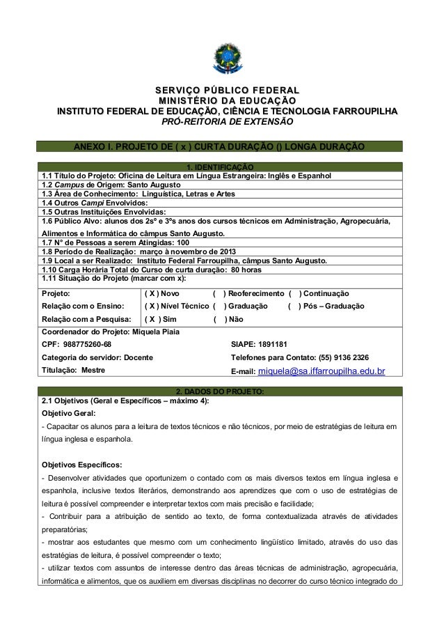 SERVIÇO PÚBLICO FEDERALSERVIÇO PÚBLICO FEDERAL MINISTÉRIO DA EDUCAÇÃOMINISTÉRIO DA EDUCAÇÃO INSTITUTO FEDERAL DE EDUCAÇÃO,...