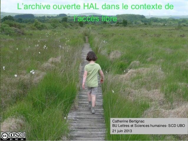 HALUBO L'archive ouverte HAL dans le contexte de l'accès libre Catherine Bertignac BU Lettres et Sciences humaines- SCD UB...