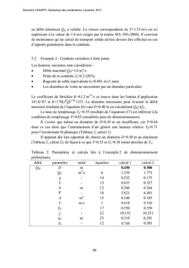 Séminaire VSA/EPFL Hydraulique des canalisations, Lausanne, 2013  au débit minimum Qm à valider. La vitesse correspondante...