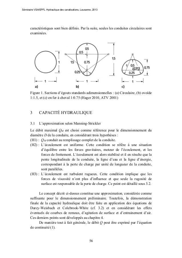 Séminaire VSA/EPFL Hydraulique des canalisations, Lausanne, 2013  caractéristiques sont bien définis. Par la suite, seules...