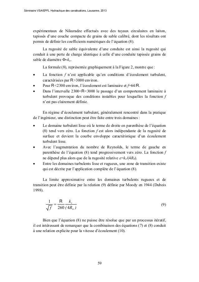 Séminaire VSA/EPFL Hydraulique des canalisations, Lausanne, 2013  expérimentaux de Nikuradze effectués avec des tuyaux cir...