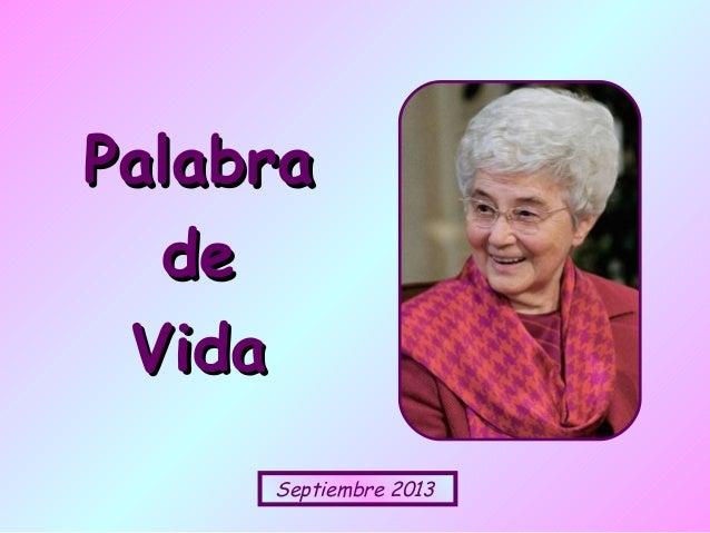 Septiembre 2013 PalabraPalabra dede VidaVida