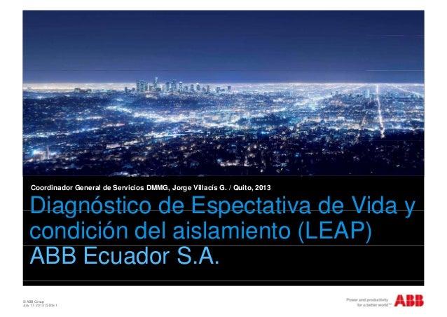 Diagnóstico de Espectativa de Vida y Coordinador General de Servicios DMMG, Jorge Villacís G. / Quito, 2013 Diagnóstico de...