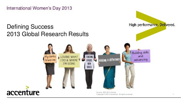 International Women's Day 2013  Defining Success 2013 Global Research Results  Source: IWD 2013 Survey Copyright © 2013 Ac...