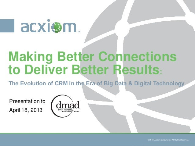 © 2013 Acxiom Corporation. All RightsReserved.© 2013 Acxiom Corporation. All Rights Reserved.The Evolution of CRM in the E...
