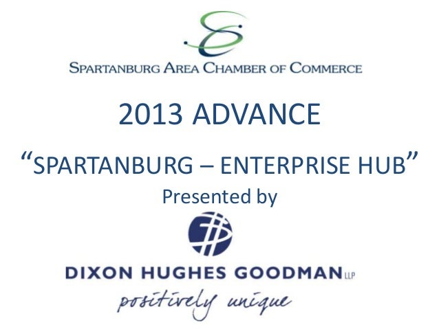 "2013 ADVANCE ""SPARTANBURG – ENTERPRISE HUB"" Presented by"