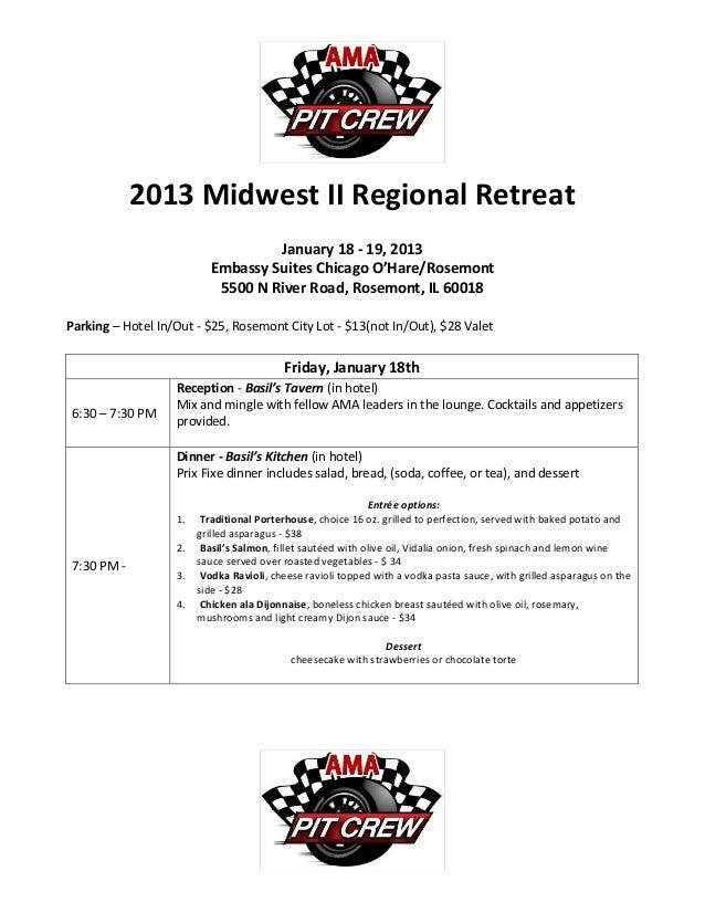 2013 Midwest II Regional Retreat                                   January 18 - 19, 2013                          Embassy ...