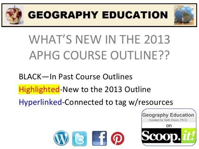 WHAT'S NEW IN THE 2013 APHG COURSE OUTLINE?? BLACK—In Past Course Outlines Highlighted-New to the 2013 Outline Hyperlinked...