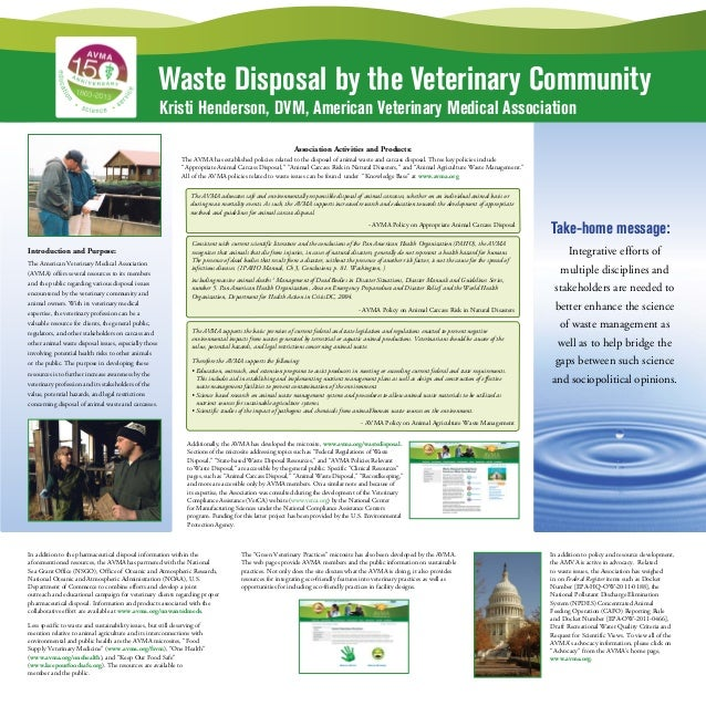 Waste Disposal by the Veterinary CommunityKristi Henderson, DVM, American Veterinary Medical AssociationAssociation Activi...