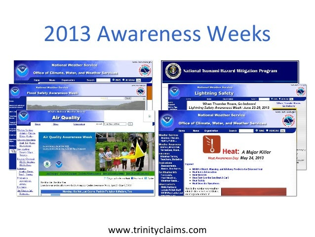 2013 Awareness Weeks     www.trinityclaims.com