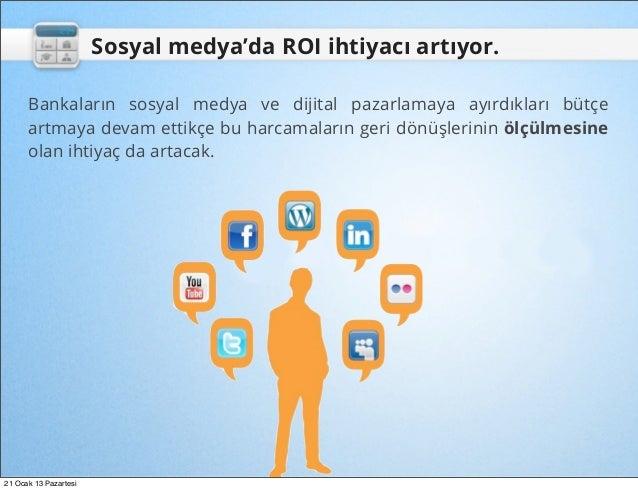 Sosyal medya'da ROI ihtiyacı artıyor.      Bankaların sosyal medya ve dijital pazarlamaya ayırdıkları bütçe      artmaya d...