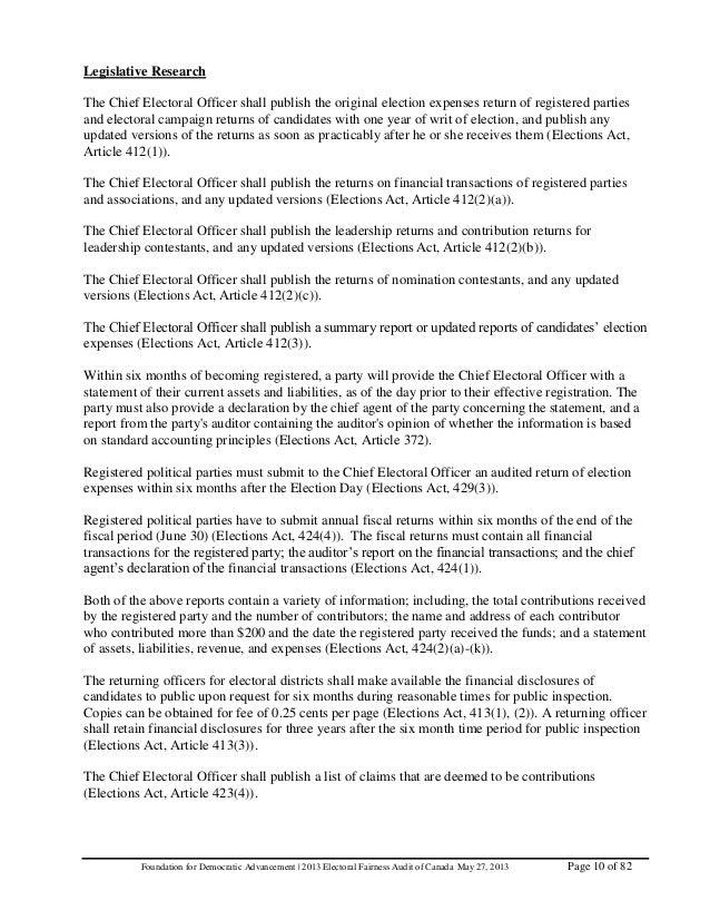 fda global electoral fairness audit report 10