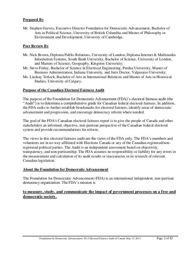 fda global electoral fairness audit report aristotle 2