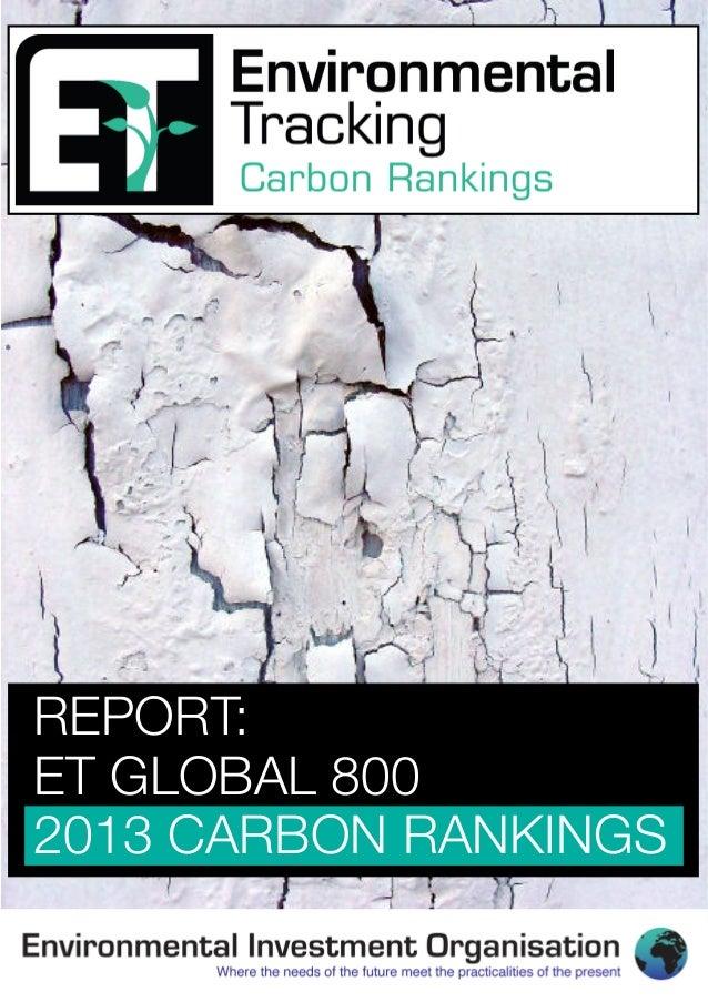 REPORT:ET GLOBAL 8002013 CARBON RANKINGS