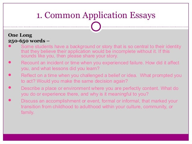 common app essay options Sample college admission essay: options 1, 2, and 3 from the common application option #1 common application personal statement evaluate a significant experience, achievement, risk you have taken, or ethical dilemma you have faced and its impact on you.