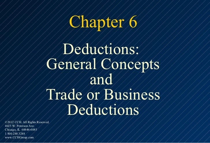 Chapter 6                              Deductions:                            General Concepts                            ...