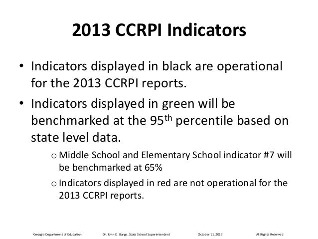 2013 CCRPI Indicators • Indicators displayed in black are operational for the 2013 CCRPI reports. • Indicators displayed i...