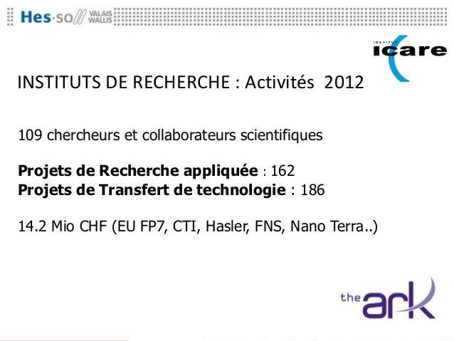 INSTITUTS DE RECHERCHE : Activités 2012109 chercheurs et collaborateurs scientifiquesProjets de Recherche appliquée : 162P...