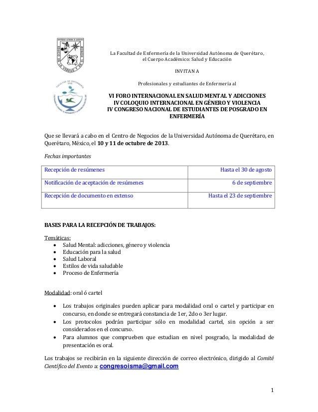 1 La Facultad de Enfermería de la Universidad Autónoma de Querétaro, el Cuerpo Académico: Salud y Educación INVITAN A Prof...