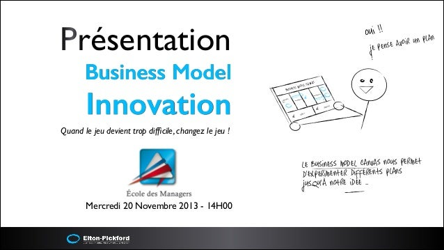 Présentation 	  Business Model  Innovation  i !! ou  n plan avoir u e pense j !  AS EL CANV MOD SINESS BU  €  naires Parte...