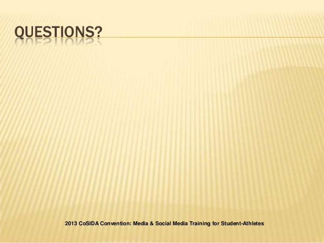 social media and student athletes Social media an issue for athletes,  having student-athletes use social media and that's why the school educates its athletes about social media.